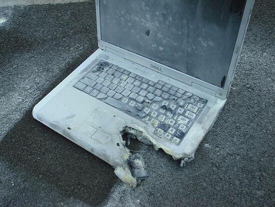 Damaged laptop battery
